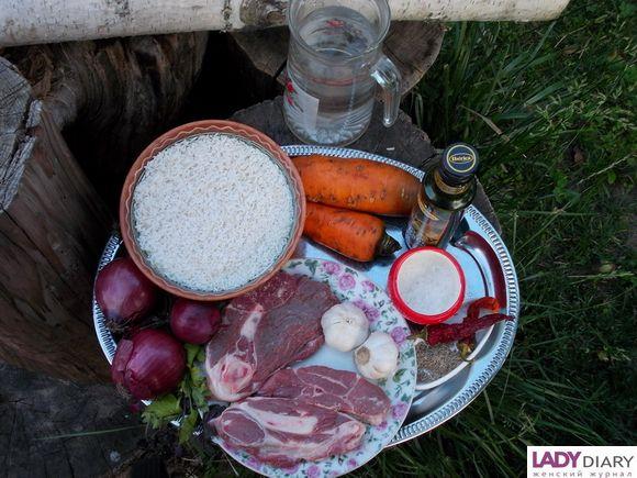 Ингредиенты для узбекского плова.
