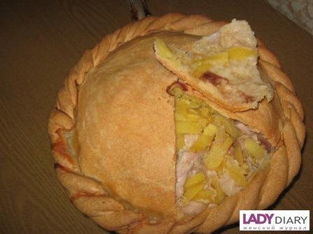Курник маленький из курицы с картофелем пошаговый рецепт с 152