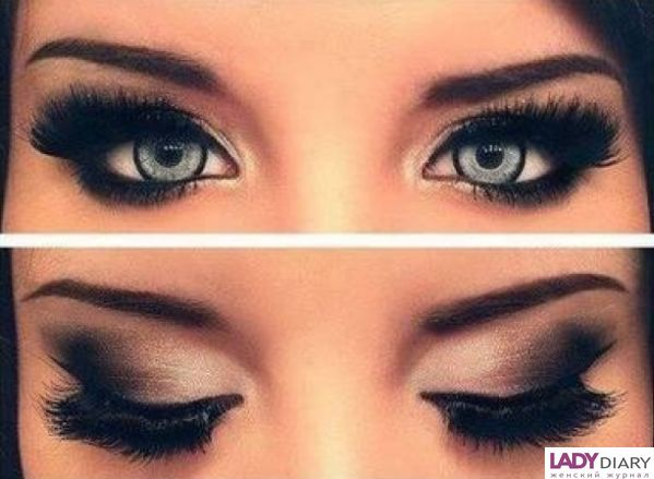 Макияж к голубым глазам и темным волосам